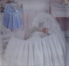 Beautiful Eyelet Baby Bassinet Dressing Skirting Bed Ruffle Pattern - Uncut…