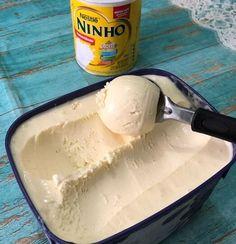 sorvete de leite ninho Vegan Coleslaw, Coleslaw Mix, Delicious Desserts, Dessert Recipes, Yummy Food, Confort Food, Sweet Recipes, Food Porn, Food And Drink