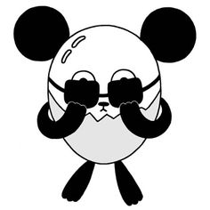 Panda cartoon character - Sunglasses are suited