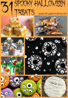 If you're planning your Halloween party menu, be sure to check out these 31 Spooky Halloween Treats from www.drugstoredivas.net.