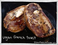 Vegan French Toast made with Coconut and Banana. Quick, Easy, and Scrumptious! Fuss Free Vegan Recipes by #itdoesnttastelikechicken