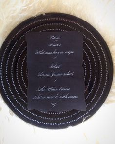 Custom calligraphy in white ink on black paper for handwritten menu: wedding, birthday, graduation party - minimalist classic menu, UK