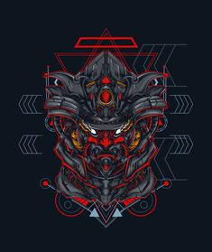 Mecha Samurai Sacerd Geometry Vector Illustration - AI, EPS