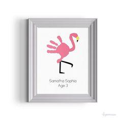 Flamingo Handprint Girls's Room Art Gift Idea Nursery