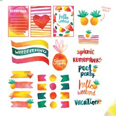 Found it at Blitsy - FREE Printable: Summer Watercolor Planner Stickers, pineapple