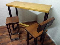 Modern industrial style handcrafted steel and wood bar set. Line Shopping, Bar Set, Wood Bars, Modern Industrial, Corner Desk, Steel, Furniture, Home Decor, Homemade Home Decor