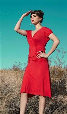 Red Jersey Ruched Ballerina Dress with Fold Over Neckline