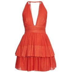 Sophie Theallet Anais plunging-neckline dress (€805) ❤ liked on Polyvore featuring dresses, orange, red, plunging-neckline dress, halter cocktail dress, red cut-out dresses, red cut out dress and laced dress