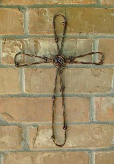 Hand Crafted Barbed Wire Wall Cross w/copper by Jaysmetaldesigns
