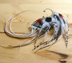 Feather Ear Cuff Snow Birds Feather Earcuff by xVELVETx on Etsy, $30.00
