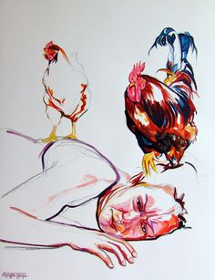 Cristina Troufa - Contemporary Artist - Figurative Painting - Galo #3 - 2014
