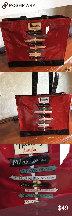 "Harrods bag Lovely waterproof Harrods of London "" travel all over"" spacious over the shoulder with top zipper bag. New at Harrods 2017-2018 Harrods Bags Shoulder Bags"