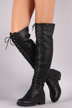 d7cc02c2be These riding boots feature pebbled vegan leather, round toe, lace-up front,