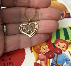 Vintage Gold Tone Heart Overlay Flower Rose Pendant Necklace Valentine Gift #Pendant
