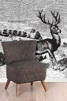 {Deer Landscape Wall Mural} y Woodcut Art, Rural Retreats, Landscape Walls, Mural Painting, Wall Treatments, Cool Walls, Art Techniques, Home Deco, The Great Outdoors