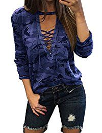New StyleDome Women Lace Up Deep V Neck Hollow Out/Choker Camouflage Long/Short Sleeve Sexy Blouse Shirt Tee Tops online. Find the perfect Champion Tops-Tees from top store. Sku WXLT23173EEXT43587