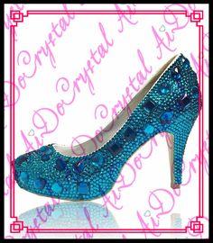 Aidocrystal Luxury Austria Rhinestone Blue Wedding Shoes Handmade Bridal  Crystal High Heels Woman Evening Pumps-in Women s Pumps from Shoes on ... 51fd7e8b7994