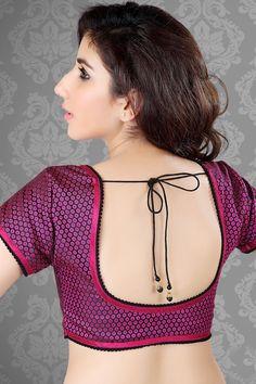 #Pink Color Plain #Banarasi Designer Sari #Blouse - BL382