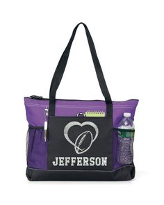 "20"" Football  Sports Bag with name and design in soft Microfiber or Glitter design-Heart Design-Totes-Glitter-Football tote-Microsuede."