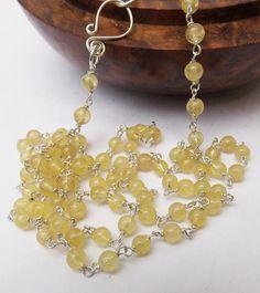 Golden yellow necklace unusual gemstone rare gemstone
