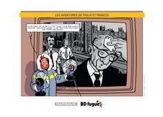 Ex-libris BD fugue pour la sortie du nouveau Philip et Francis le 12/09/14. Dessin de Nicolas Barral. #Dargaud #BD
