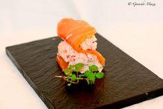 Rollitos de salmón con langostino, cangrejo y mayonesa