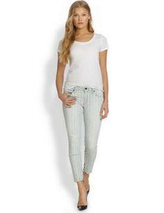 GENETIC DENIM Alina Striped Skinny Ankle-Zip Jeans