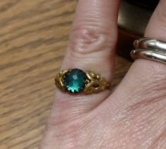 Vintage Czechoslovakia ring.  Size five.  Blue green faceted stone. by pnpvintagegeneral on Etsy