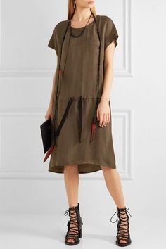 Ann Demeulemeester - Washed Satin-twill Dress - Army green - FR36