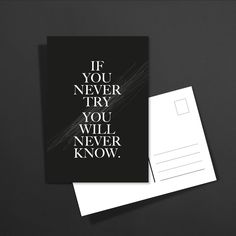 POSTKARTE if you never try you will never know: 1,60€