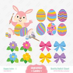 Happy Easter Digital Clipart  1 by SSGARDEN on Etsy, $3.99