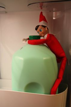 Elf on the Shelf turns the milk either red or green