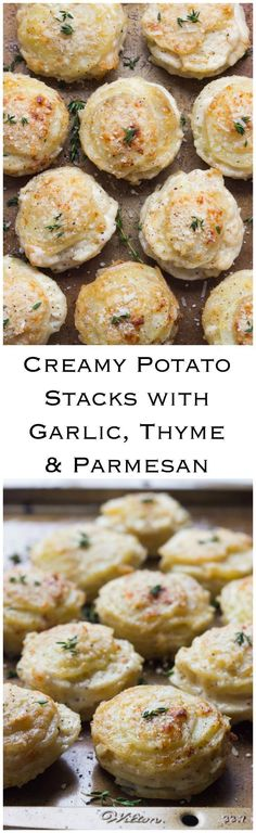 Creamy Potato Stacks with Garlic, Thyme and Parmesan - made in a standard muffin pan, these potato stacks are creamy on the inside and crispy on the outside. Super delicious side for any dinner party! Potato Dishes, Potato Recipes, Vegetable Recipes, Food Dishes, Vegetarian Recipes, Cooking Recipes, Side Dish Recipes, Dinner Recipes, Good Food