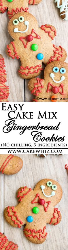 These are the easiest CAKE MIX GINGERBREAD COOKIES ever! You only need 3 ingredients! No chilling required and perfect cut out shapes every single time! From cakewhiz.com