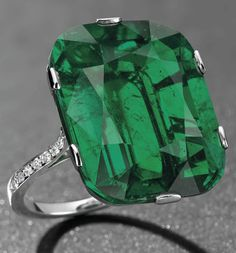 This exceptional #emerald and #diamond #ring is expected to fetch between $1,279,175 - $1,812,165 when it goes up for auction on 15th of May.  The cushion-shaped emerald is 23.28 carats. Of #Colombian origin, it shows no indications of clarity enhancement. Mounted in #platinum.  http://www.christies.com/lotfinder/jewelry/an-exceptional-emerald-and-diamond-ring-5678613-details.aspx