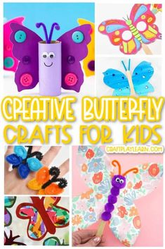 B is for Butterfly craft ideas! Seriously, these butterfly crafts are the perfect way to really get your kids to associate the letter B and its sound. Not only that, but they are super fun to make! Animal Crafts For Kids, Easy Crafts For Kids, Cute Crafts, Toddler Crafts, Craft Stick Crafts, Preschool Crafts, Craft Ideas, Handprint Butterfly, Paper Butterfly Crafts