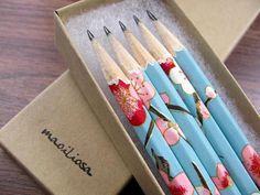 washi-wrapped japanese pencils - set of 5 - sweet summer (blue) via Etsy