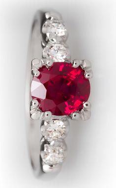 Ruby & diamond platinum ring