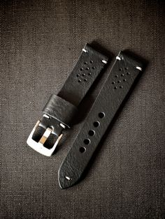 "Bas & Lokes""Cooper"" black tapered handmade leather watch strap. $140 USD + $10 shipping."