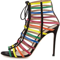 Gianvito Rossi for Mary Katrantzou Strappy Suede Caged Sandal, Rainbow (17 840 UAH) ❤ liked on Polyvore featuring shoes, sandals, caged shoes, cage sandals, strappy shoes, rainbow sandals and suede shoes