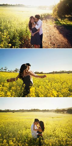 Engagement session in the pretty yellow canola fields near Kalbarri // Jon and Melissa's Pink Lake Prewedding in Western Australia