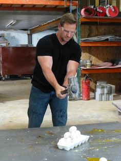 Watch a dozen eggs being smashed by Jason Cameron's sledgehammer.
