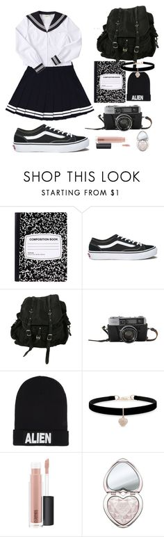 """Untitled #369"" by elisa-toni ❤ liked on Polyvore featuring Vans, AllSaints, Nicopanda, Betsey Johnson, MAC Cosmetics and Too Faced Cosmetics"