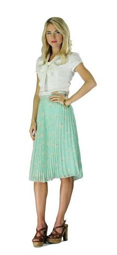 Mikarose Mint Pleated Chiffon Floral Print Knee-Length Skirt -  http://www.amazon.com/gp/product/B00DTXJO1G/ref=as_li_tl?ie=UTF8&camp=1789&creative=390957&creativeASIN=B00DTXJO1G&linkCode=as2&tag=modmod-20&linkId=NYKB4BJDH25FBBVY