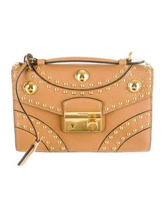 Prada Pattina Saffiano Studded Crossbody Bag.