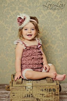 Dusty Rose & Cream Trim Petti Romper from The Couture Baby