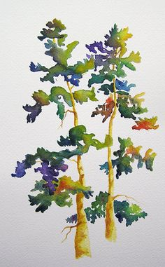 drop in color- Fall Trees- haven't done that in a coupla years Watercolor Trees, Watercolor Landscape, Watercolour Painting, Painting & Drawing, Watercolors, Illustrations, Illustration Art, Painted Trees, Tree Art
