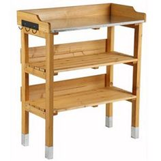 Garden potting storage shelf with hooks and made of solid pine wood: Amazon.co.uk: Garden & Outdoors