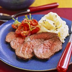 This London broil recipe takes an Asian turn when you marinate the beef in teriyaki and oyster sauce and serve it with creamed potatoes spiked with wasabi, also known as Japanese horseradish. Wasabi Recipes, Lamb Recipes, Side Recipes, Steak Recipes, Cooking Recipes, Pork Dishes, Fish Dishes, Tasty Dishes, Main Dishes