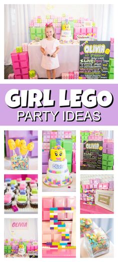 This Girl Themed Lego Party includes pastel themed party supplies and decorations, an awesome birthday cake, Lego building station, and more. Lego Themed Party, Lego Birthday Party, 6th Birthday Parties, Girl Birthday, Lego Parties, Birthday Ideas, Themed Parties, Birthday Cake, Lego Friends Cake